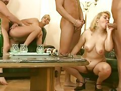 Hairy cunt fuck foursome with lots of pissing tubes