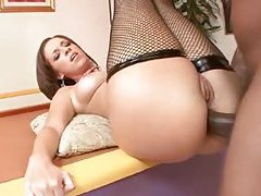 Fishnets girl is prepped for big black cock anal sex tubes