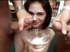 Sexy cum bucket drinks lots of loads tubes