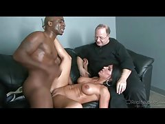 Dude watches his lady get fucked by big black cock tubes