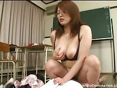 Babe in the classroom sits on his cock tubes