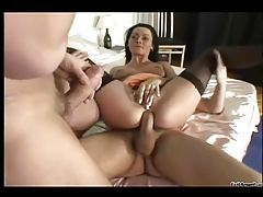 Ass fuck slut in stockings loves a threesome tubes