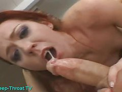 Deepthroating a big long cock tubes