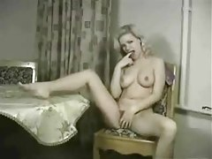Hot retro blonde strips nude and masturbates tubes