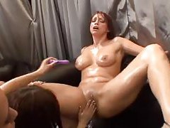 Lesbian orgy with tons of oil and toys tubes