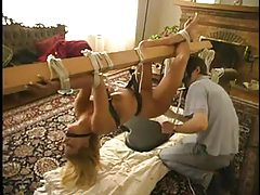 He puts busty girl through various bondage positions tubes