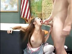 Teen cutie in white stockings fucked on a desk tubes