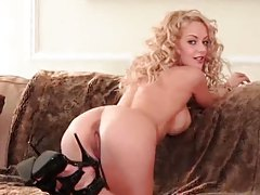 Curly hair glamorous girl models fake tits tubes