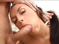 Sweet shaved girl sucking two dicks tubes