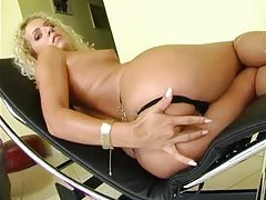Fingering girl with curly blonde hair tubes