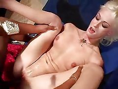 Bleach blonde babe fucked by BBC tubes
