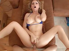 Hot slut slaps his cock around and they fuck tubes
