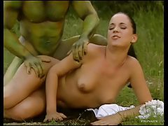 Body painted ogre dude fucks a hottie outdoors tubes
