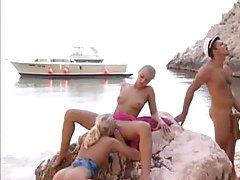Boat captain fucks three sluts on a beach tubes