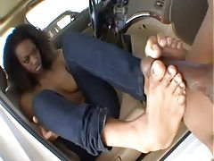Curly hair black slut fucked in the car tubes