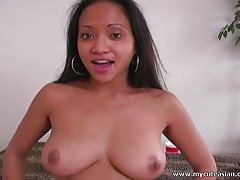 Huge tit Thai girl gets the biggest cum facial tubes