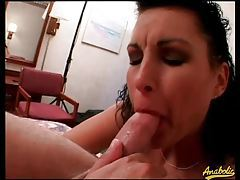 Slut sucks out a load and gives him a rimjob tubes