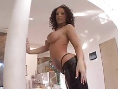 Jayden Jaymes teases in her leather pants tubes