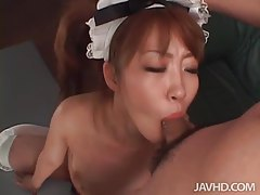 Cocksucking Japanese maid sucks dicks tubes