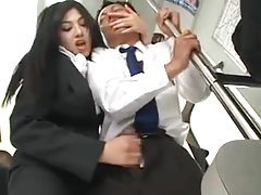 Business man gets handjob on a train tubes