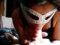 Masked amateur sucks cock in homemade video tubes