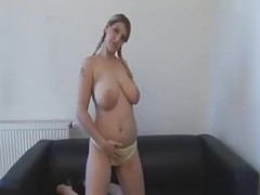 Pigtailed big tits girl lubes up and fondles tubes