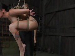 Small tits submissive in rope bondage tubes