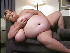 Gigantic blonde girl fingers her cunt tubes