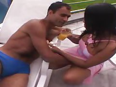 Pretty girl in pink dress fools around outdoors tubes