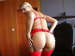 Cute blonde models red latex lingerie tubes