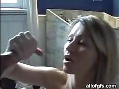 Blonde milf milks her mans fat dick tubes