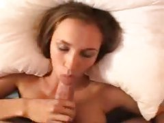 Pretty girl in stockings sucks and teases tubes