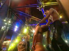 Stripper sucks his cock in the club tubes