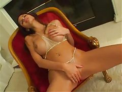 Shy Love in sheer lingerie teases her body tubes