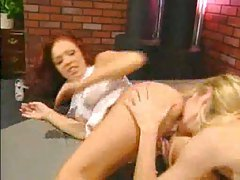 Redhead and blonde licking asshole tubes