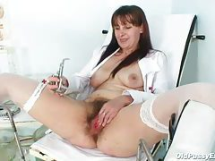 Hairy mature nurse pussy fucked with instrument tubes