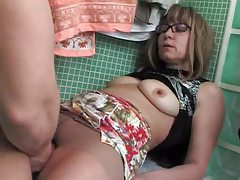 Milf in pantyhose has naughty fun in bathroom tubes