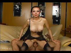 Skinny long haired asian fucking in black lingerie tubes