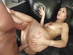 Gorgeous Latina with round ass gets oiled then drilled tubes