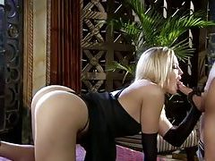 Classy blonde with great ass sucks on fat cock tubes