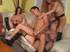Guy bends over for strapon anal gangbang tubes