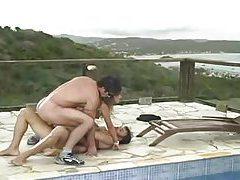 Petite brunette minx enjoys two fat cocks tubes