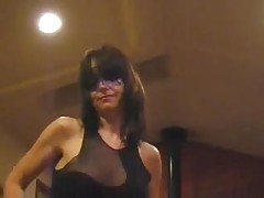 Masked milf dances and plays with her pussy tubes