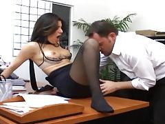 Office sex with a busty secretary in sexy hosiery tube
