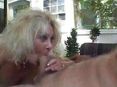 Amateur blonde cougar strokes younger mans cock tubes