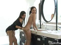 Brunette hot babes take a bath and show their nice ass, cute tits and wet tight pussy tubes