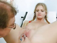 Sexy tits on cute pigtailed girl in exam room tubes