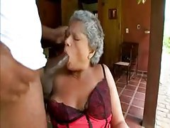 Granny in satin lingerie sucks big black cock tubes