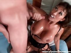 Lusty Asian milf with massive boobs strokes cock tubes