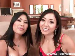 Two pretty Asian ladies pleasure one black cock tubes